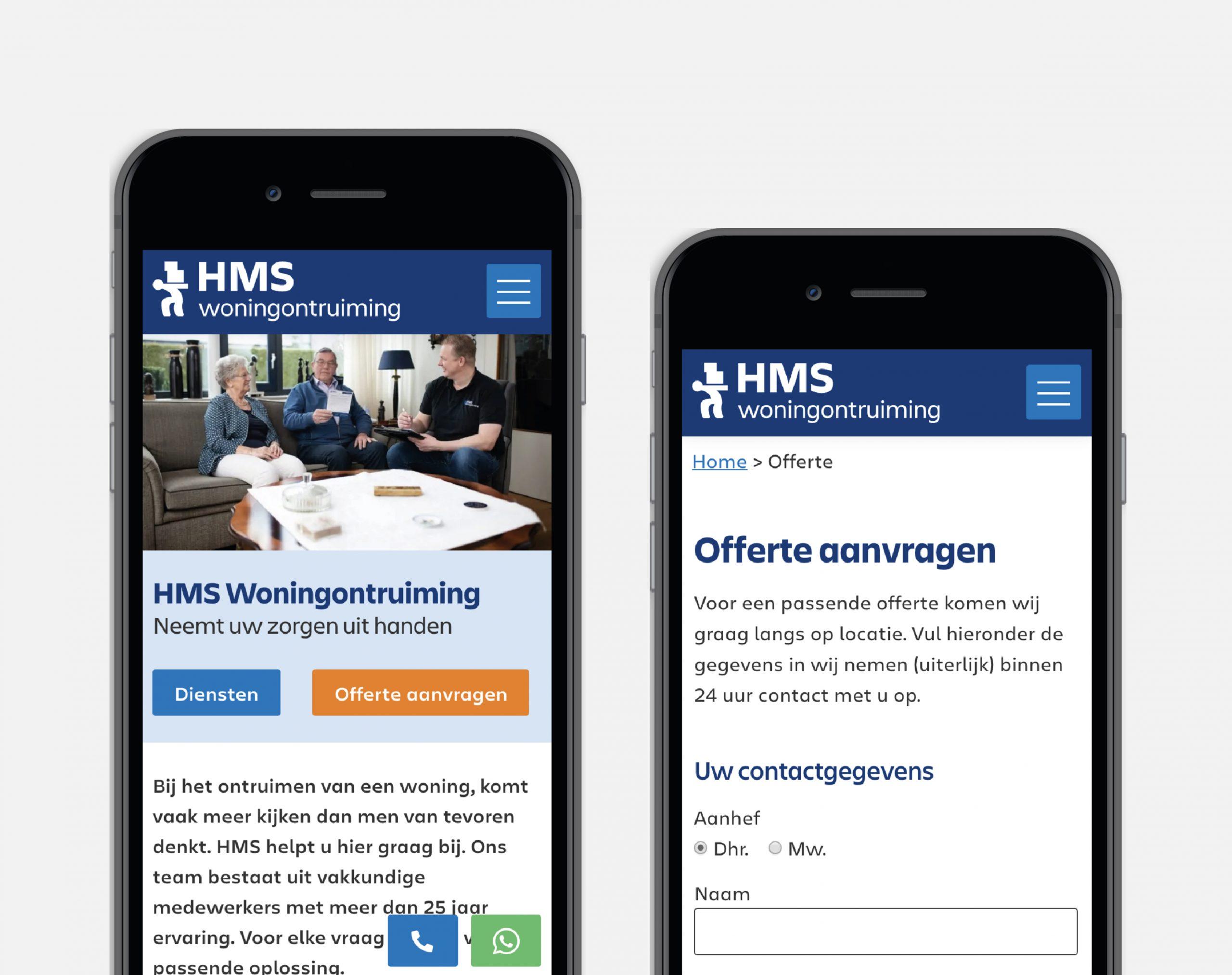 Website HMS Woningontruiming Onlinecreatie